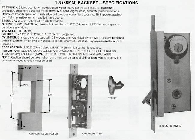 Baldwin Brass Sliding Door Lock